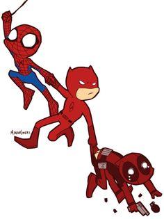 Marvel+Red+Team | Spiderman Deadpool Daredevil MLArt Marvel Red Team