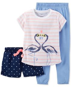 Carter's Girls' or Little Girls' 3-Piece Flamingo Pajamas
