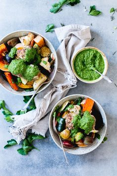 Beef & Ricotta Meatballs with Salsa Verde and Roast Veggetables - The Brick Kitchen