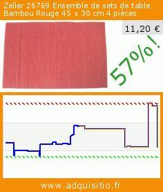 Zeller 26769 Ensemble de sets de table Bambou Rouge 45 x 30 cm 4 pièces (Cuisine). Réduction de 57%! Prix actuel 11,20 €, l'ancien prix était de 25,89 €. http://www.adquisitio.fr/zeller/26769-ensemble-sets-table