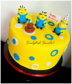 Minions! - Little fondant minions, this was a 6 inch cake.
