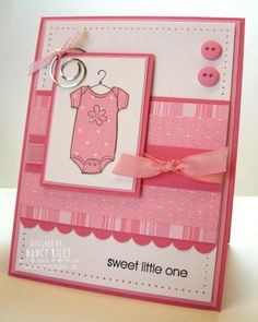 Such a sweet baby card. Could be done in blue for a boy, too!