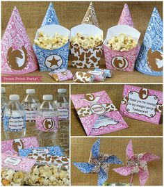 Cowgirl Western Party Printables Pink Brown by PressPrintParty Birthday Party Decorations, Birthday Ideas, Birthday Parties, Cowgirl Birthday Invitations, Party Party, Party Ideas, Cowboy Theme Party, Cowgirl Baby, Sheriff Callie