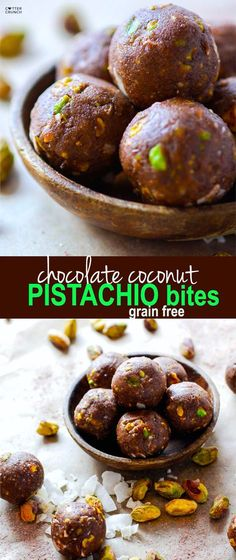 Paleo and Vegan friendly Dark Chocolate Coconut Pistachio bites! A crunchy, lightly sweet, delicious snack BITE that requires no baking! These little chocolate bites are naturally sweetened and packed healthy fats! Paleo and Vegan friendly Paleo Dessert, Vegan Desserts, Dessert Recipes, Healthy Sweets, Healthy Snacks, Healthy Fats, Toffee, Yummy Snacks, Yummy Food