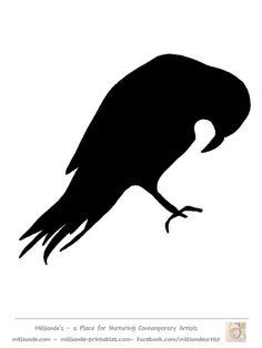 Bird Silhouette Stencil Template Crow at www.milliande-printables.com