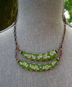 Moobie Grace - Necklace - Polymer Clay  - Natural - Flowers - Embroidered - Sari Silk -  Green - Free Shipping. $35.00, via Etsy.