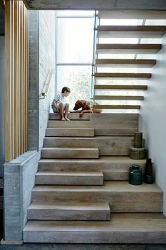 Even better?....have the top stairs slide side to side so as to access 2 different doors on the 2nd floor (with safety doors, latches, etc so no one falls out the unmanned doorway)!