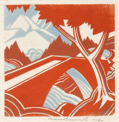 Mountain Stream, linocut, 1932. Author: Leonard Beaumont | Beaumont travelled extensively in the Alps, at first making etchings, but finally favouring the linocut as a medium in which to work. This is one of his earlier most successful prints, with bridge and mountain range echoing each other in shape, and likewise the leaves of the trees and the mountains in the mid-ground
