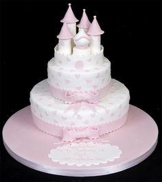 Two tier Pink Cinderella Castle wedding cake