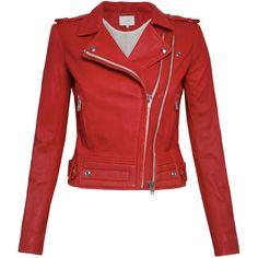 IRO Luiga Leather Jacket - Red ($1,525) ❤ liked on Polyvore