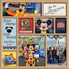 a way to use those postcards you buy for the photos - scrapbook page idea