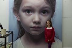 "untrustyou:  The muse and her portrait (""Head of a Child 12"" [granddaughter Croí Sequoia Helnwein])  Gottfried Helnwein"