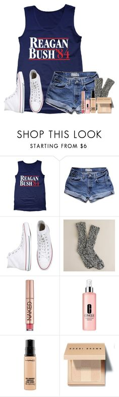 """Last day of school before spring break☀️☀️"" by lydia-hh ❤ liked on Polyvore featuring Retrò, Abercrombie & Fitch, Converse, J.Crew, Urban Decay, Clinique, MAC Cosmetics and Bobbi Brown Cosmetics"