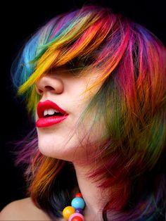 "Regenbogen Haarfarbe Ideen Pony ""Breite ="" 300 ""Höhe = ""400"