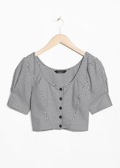 & Other Stories image 1 of Gingham Crop Blouse in Black Crop Top Outfits, Cute Casual Outfits, Pretty Outfits, Girls Fashion Clothes, Fashion Outfits, Fashion Fashion, Fashion News, Fashion Trends, Latest Tops Fashion