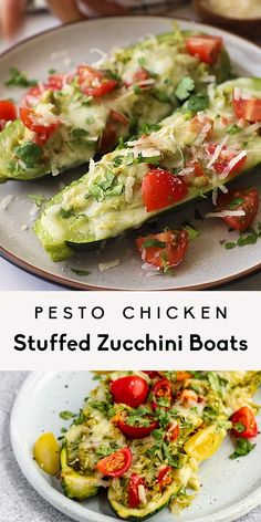 Savory pesto chicken stuffed zucchini boats with a homemade cashew jalapeño pesto and layers of mozzarella cheese. These easy, healthy pesto chicken zucchini boats are fun and easy to make and pack tons of delicious protein. The perfect dinner for using up fresh zucchini! #zucchini #zucchinirecipe #lowcarb #pesto #chicken #healthydinner #mealprep #glutenfree #grainfree Healthy Stuffed Zucchini, Chicken Zucchini, Healthy Pesto, Pesto Chicken, Zucchini Boats, Cashew Chicken, Healthy Low Carb Dinners, Vegetarian Dinners, Healthy Dinner Recipes