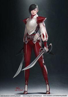 ArtStation - Red, Short hair and Two Swords , InHyuk Lee