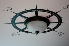 Gotta love the title of this post. How to Make the Best of Your Boob Light Fixtures {diy lights} (liking the compass rose! For the laundry room) Nautical Home Decorating, Diy Home Decor, Decorating Ideas, Coastal Decor, Nautical Interior, Coastal Living, Coastal Homes, Coastal Bedrooms, Coastal Cottage