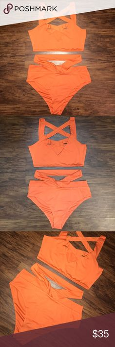 Sexy Strappy Orange Bikini Size M size medium, runs true to size but may even fit a large. material is thin and very soft and stretchy. never worn only tried on. top is caged in the front and shows the perfect amount of cleavage. bottoms are high waisted and fuller coverage with the extra strap around the waist. not triangl but boutique. triangl swimwear Swim Bikinis