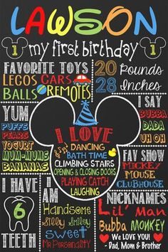 Mickey Mouse 1st Birthday Mickey Mouse by CustomPrintablesNY