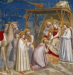 Giotto di Bondone (Italian artist, 1267-1337). Поклонение волхвов. Джотто ди Бондоне  Фрески капеллы дель Арена (или капеллы дельи Скровеньи) в Падуе (1304-1306)