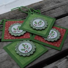 Have a holly jolly Christmas, Its the Best time of the year set of 4 Holly Christmas tags. Holly is stamped in green and sparkled in red layered of a