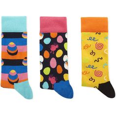 Happy Socks Combed cotton-blend pack of three socks ($22) ❤ liked on Polyvore featuring men's fashion, men's clothing, men's socks, mens patterned socks and mens polka dot socks