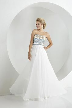 Balletts Bridal - 22987 - Prom by Jacquelin Bridals Canada - Scoop strapless neckline with two-tone color beaded design on bodice, flowy a-line chiffon skirt with sweet train and center zipper.