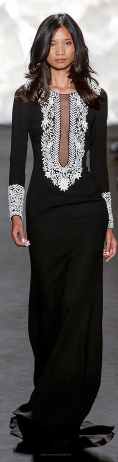 dress Naeem Khan Spring 2015 Ready-to-Wear. This is a beautiful dress.Naeem Khan Spring 2015 Ready-to-Wear. This is a beautiful dress. White Fashion, Look Fashion, Runway Fashion, Fashion Show, Fashion Design, Ny Fashion, Naeem Khan, Casual Styles, How To Have Style