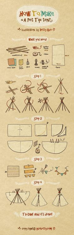 Recently I made a Tipi tent for my cat. although this is a miniature version Tipi I still enjoyed the whole building process enormously and today I decided to drew an illustration tutorial for whoever would also like to give a try! Diy Tipi, Diy Cat Tent, Cat Teepee, Teepee Tent, Teepees, Dog Tent, Illustration Tutorial, House Illustration, Illustrations