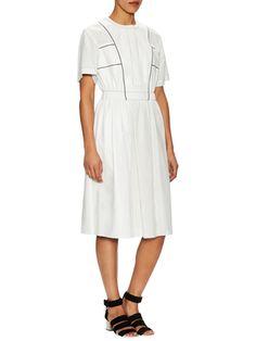 Proenza Schouler Leather Drop Shoulder Midi Dress
