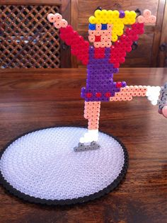 Hama Bead Ice Skater with Rink. by Merrily Me, via Flickr