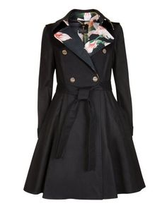 Flared skirt trench coat - Black | Jackets & Coats | Ted Baker ROW So this is the kind of full skirt I mean but longer and without the floral stuff.