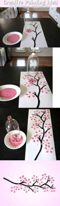 Simple And Genius Painting Flowers Idea.