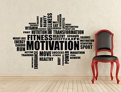 Gym Wall Decals Fitness Motivation Word Cloud Wall Decal Inspirational Words Gym Poster Stencil Decor Sports Vinyl Sticker Home Art Design Removable Mural (475n)