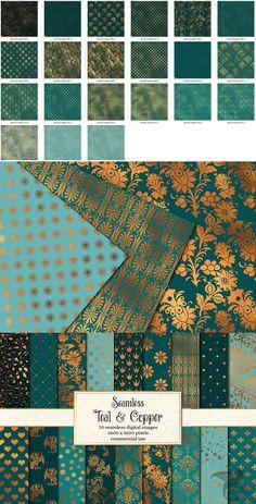 Teal and Copper Digital Paper - Patterns Design - Copper Colour Scheme, Teal Color Schemes, Colour Pallete, Copper Color, Color Palettes, Teal And Copper Bedroom, Teal Rooms, Teal Living Rooms, Teal Wallpaper