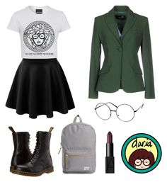 """""""Inspired by Daria"""" by brooklynbeauty18 ❤ liked on Polyvore featuring ZeroUV, Love Moschino, Dr. Martens, Herschel Supply Co., throwback, MTV, 1990s and flashbackfriday"""
