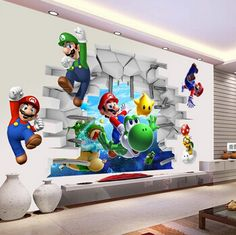 View cartoon Art Wall Stickers Wall Super Mario Bros Boy Room Kids Art Decal Mural Kids Nursery Decals Home Decor Wall Stickers Uk, Removable Wall Stickers, Wall Decal Sticker, Super Mario Bros, Super Mario Kunst, Art Mural 3d, 3d Wall Art, Wall Mural, Nursery Decals