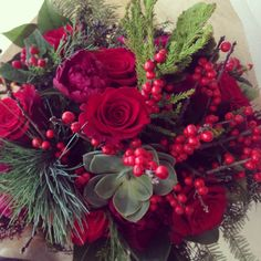 Christmas hand tied bouquet {Botany Floral Studio}