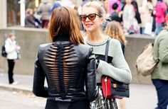 cut out back on a leather jacket
