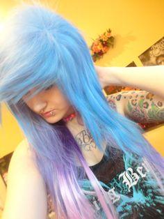 light blue light purple emo girl wig scene punk gothic raver layers ombre spike on Etsy, $119.99