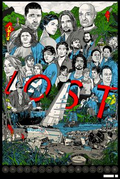 **** LOST – This fan art poster showed up between Seasons 5 and 6. I remember Damon and Carlton saying they liked it very much, AND there was a major clue about Season 6 somewhere in the busy design. I looked at it as closely as I could, trying to find whatever it was. To this day, I don't know what the clue was supposed to be, but it sure was a huge tease!