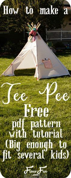 How to make a Teepee (free pattern) DIY ♥ Fleece Fun I love how she has a free pdf pattern to make this teepee. I also love how this tepee DIY is for a large size tee pee. Looks so fun _ I want one to read books in! Definitely going to try this idea. Sewing For Kids, Diy For Kids, Crafts For Kids, Sewing Hacks, Sewing Tutorials, Sewing Crafts, Sewing Ideas, Tutorial Sewing, Sewing Patterns Free