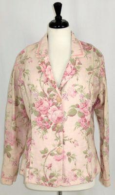 Coldwater Creek Linen Jacket Blazer Garden Romantic Floral Roses Pink Green L #ColdwaterCreek #Blazer