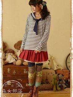 Lady sailor striped top #asianicandy #sailor #nautical