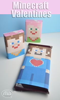 Minecraft Sweethearts conversation hearts and Hershey's free candy wraps printable
