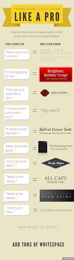 Translating client-speak. No offense! I actually used Trajan Pro to make a logo look classy before reading this :)
