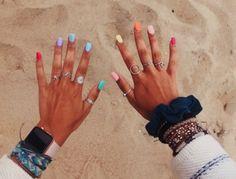 Nageldesign - Nail Art - Nagellack - Nail Polish - Nailart - Nails lol would really appreciate it if Summer Acrylic Nails, Cute Acrylic Nails, Pastel Nails, Spring Nails, Cute Nails, Pretty Nails, Colorful Nails, Multicolored Nails, Summer Nail Polish