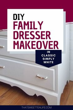 See how I gave an old family dresser-passed on to grandbaby-new life with a classic simply white paint and gorgeous hardware. The drawers are lined in polka dot paper perfect for a nursery. #thatsweettealife #diydressermakeover #paintedfurniture #nurserydresser