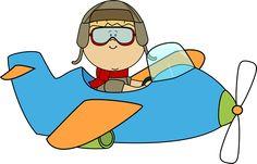 Cute Airplane   Boy Flying an Airplane Clip Art - Boy Flying an Airplane Image